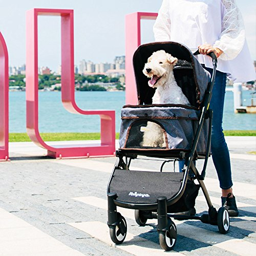 Light Weight Dog Stroller for Medium Dogs and Cats | Smart Design Folds Down to a Large Hand Bag Size | Folding Puppy & Kitten Carrier Perfect for Pet Travel by ibiyaya