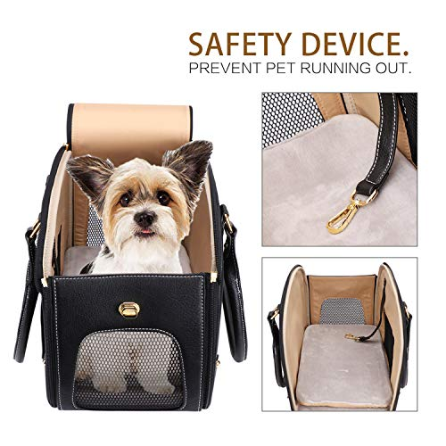 PetsHome Dog Carrier, Pet Carrier, Cat Carrier, Foldable Waterproof Premium PU Leather Pet Travel Portable Bag Carrier for Cat and Small Dog Home & Outdoor Small Black