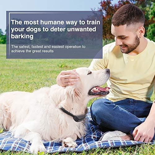 Queenmew Anti Dog Bark Collar, Dogs Barking Device Training Collars, Rechargeable & Waterproof Bark Control, Harmless Citronella Spray Anti-Bark Deterrent Stopper (Black)