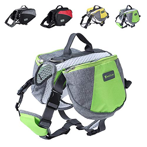 Wellver Dog Backpack Saddle Bag Travel Packs for Hiking Walking Camping,Small