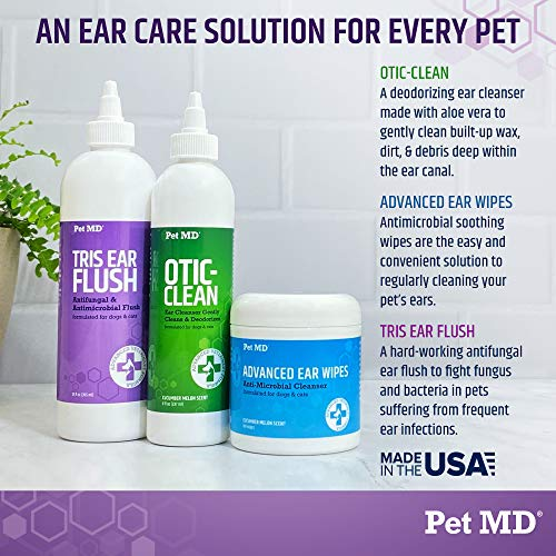 Pet MD Veterinary Tris Flush Cat & Dog Ear Cleaner – Dog Ear Infection Treatment w/Ketoconazole for Yeast Infection Treatment, Ear Mites & Fungal Infections – Perfect for Dog Grooming Kit – 12 oz