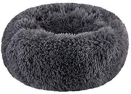 SAVFOX Long Plush Comfy Calming & Self-Warming Bed for Cat & Dog, Anti Anxiety, Furry, Soothing, Fluffy, Washable, Abbyspace, Marshmellow Pet Donut Bed