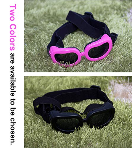SUCCESS Small Dog Goggles, Dog Sunglasses UV Protection, Foldable and Adjustable Pet Sunglasses for Doggy Puppy Cat, Waterproof Eyewear for Travel, Skiing, and Anti-Fog. (Pink)