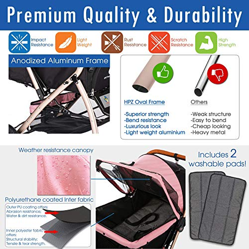 HPZ Pet Rover XL Extra-Long Premium Heavy Duty Dog/Cat/Pet Stroller Travel Carriage with Convertible Compartment/Zipperless Entry/Pump-Free Rubber Tires for Small, Medium, Large Pets (Pink)