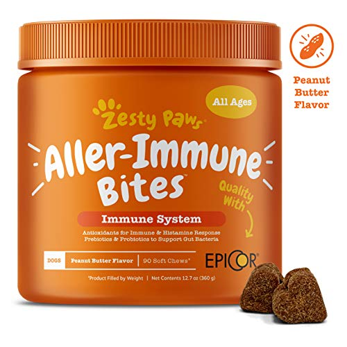 Zesty Paws Allergy Immune Supplement for Dogs – with Omega 3 Wild Alaskan Salmon Fish Oil & EpiCor + Digestive Prebiotics & Probiotics – Anti Itch & Skin Hot Spots + Seasonal Allergies – 90 Chews