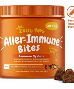 Zesty Paws Allergy Immune Supplement for Dogs – with Omega 3 Wild Alaskan Salmon Fish Oil & EpiCor + Digestive Prebiotics & Probiotics – Anti Itch & Skin Hot Spots + Seasonal Allergies – 90 Chews