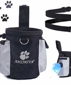 AMZNOVA Dog Treat Bag, Puppy Training Pouch, Animal Walking Snack Container Best Hiking Toys Pack Dispenser Carries with Waistband, Black