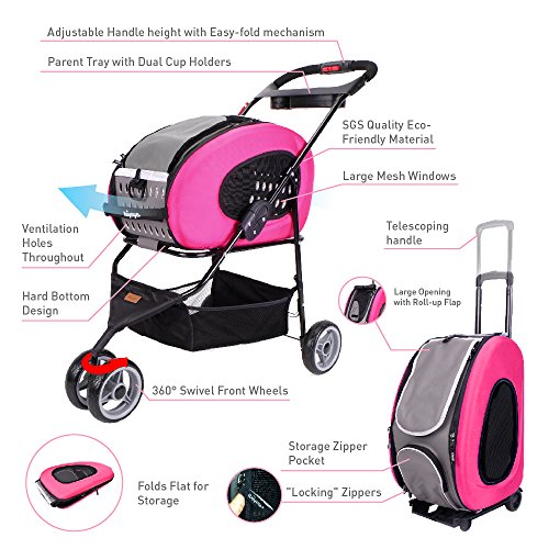 5 in 1 Pet Carrier + Backpack + CarSeat + Pet Carrier Stroller + Carriers with Wheels for Dogs and Cats All in ONE (Pink)