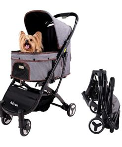 Light Weight Dog Stroller for Medium Dogs and Cats   Smart Design Folds Down to a Large Hand Bag Size   Folding Puppy & Kitten Carrier Perfect for Pet Travel by ibiyaya