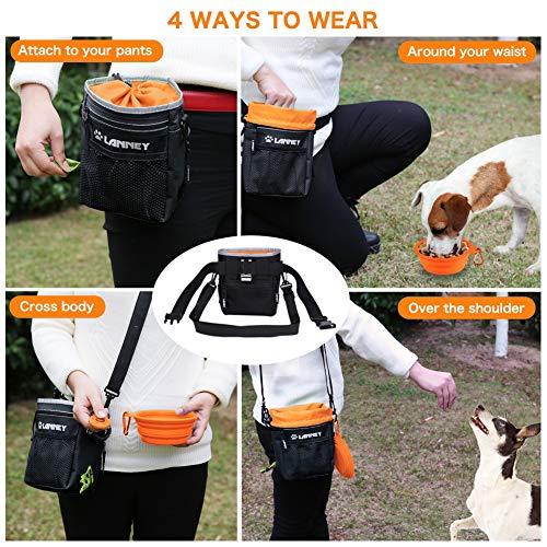 Dog Treat Pouch Pet Training Bag for Small to Large Dogs, Treat Tote Carry Kibble Snacks Toys for Training Reward Walking, Metal Clip, Waist belt, Shoulder Strap, Poop Bag Dispenser, Black with Orange