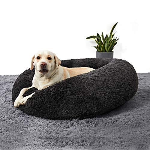 ANWA Medium Washable Dog Round Bed, Dog Donut Bed Medium Dog, Plush Dog Calming Bed