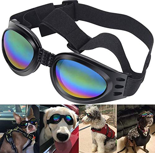SAYGOGO – Dog Glasses ,Plastic Dog Goggles,Adjustable Head and Chin Straps Windproof UV Eye Wear,Fashionable Water-Proof,Multi-Color Pet Dog Sunglasses for Small to Medium Dog