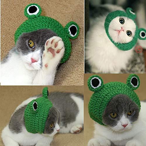 Bonaweite Pet Hat, Dog Cat Handmade Knitted Woolen Yarn Frog Cap, Grooming Accessories Apparels for Puppy Teddy Cartoon