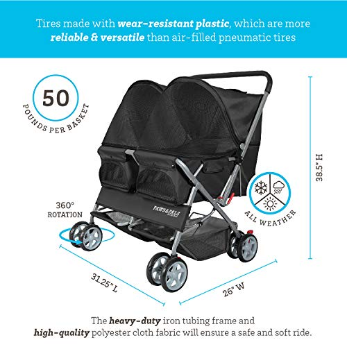 Paws & Pals Double Pet Stroller – 4 Wheels Lightweight Two Puppy, Dog & Cat Strollers – Best for Walking 2 Small/Medium Size Animal, Cats or Dogs – Foldable Pets Twin Carriage – Black
