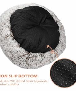 SHU UFANRO Dog Beds for Medium Small Dogs Round, Cat Cushion Bed, Pet Beds Cozy Fur Donut Cuddler Improved Sleep, Washable, Non-Slip Bottom (Multiple Sizes)