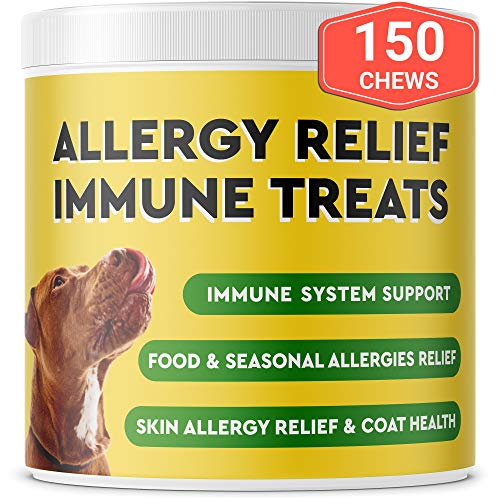 Pawfectchow Allergy Relief for Dogs – Immunity Supplement with Omega 3 Salmon Fish Oil, Colostrum, Digestive Prebiotics & Probiotics – Anti Itch & Skin Hot Spots – Made in USA – 150 Chews