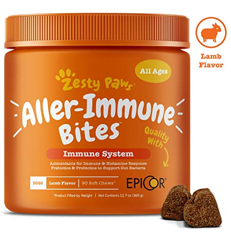 Allergy Immune Supplement for Dogs Lamb- with Omega 3 Wild Alaskan Salmon Fish Oil & EpiCor + Digestive Prebiotics & Probiotics – Anti Itch & Skin Hot Spots + Seasonal Allergies – 90 Chews