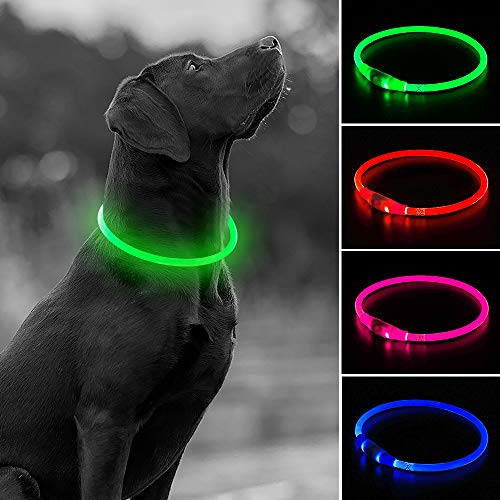 USB Rechargeable LED Dog Collar, Glow in The Dark Flashing Safety TPU Pet Collar, DIY Light Up Necklaces to Keep Your Dogs Be Seen& Safe for Night Dog Walking (Green)
