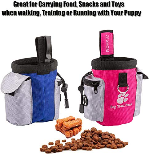 ZEXHOM Dog Treat Pouch, 2PCS Dog Training Bag with Belt Clip, Drawstring Design Training Pouch with Dog Bag Dispenser, Perfect Food Snack Storage Holder