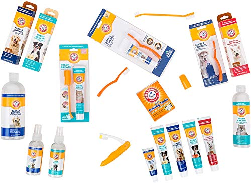 Arm & Hammer Dog Dental Care Tartar Control Kit for Dogs   Contains Toothpaste, Toothbrush & Fingerbrush   Reduces Plaque & Tartar Buildup   Safe for Puppies, 3Piece Kit, Beef Flavor