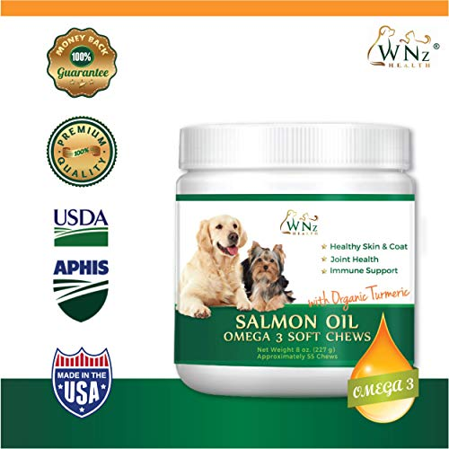 WetNozeHealth Salmon Oil Omega 3 Soft Chews with Organic Turmeric for Dogs Joints, Dry Skin Supplement for Itchy Dogs, Primrose & Sunflower Oil, Anti Inflammatory, Arthritis Pain Relief and Soft Coat