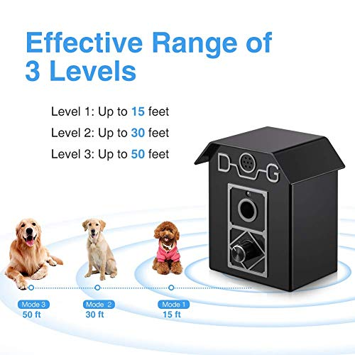 Dog Bark Control 50 FT Range Stop Barking Device, Ultrasonic Anti-Bark Device, Safe for All Dogs, Indoor & Outdoor Use, Dog Training Tool and Sonic Bark Deterrents Device Let Stop Barking Dogs (black)