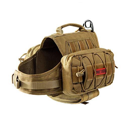 OneTigris Dog Pack Hound Travel Camping Hiking Backpack Saddle Bag Rucksack for Medium & Large Dog (Coyote Brown Version 2.0, (Neck: 18″-23.5″, Chest: 25″-30.5″))