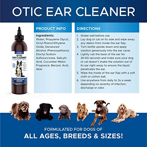 PetHonesty Dog Ear Cleaner & Ear Infection Treatment – Advanced Solution Reducing Itching Redness, Odor, Irritation & Inflammation – 8 oz