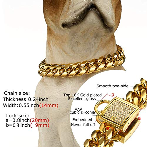 Abaxaca 18K Gold Dog Collar Royal Small Stianless Steel 14mm Training Collar Cuban Link with Zirconia Lock Necklace Chain for Dog (16 inch)