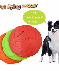 Dog Flying Discs,Dog Frisbee Toy,Pet Training Cyber Rubber Flying Saucer Interactive Toys,1pcs (Large, Orange)