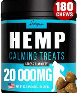Hemp Calming Treats for Dogs – Made in USA – 180 Soft Dog Calming Treats – Aids Stress, Anxiety, Storms, Barking, Separation and More – Valerian Root, L-Tryptophan, Chamomile – Hemp Oil for Dogs