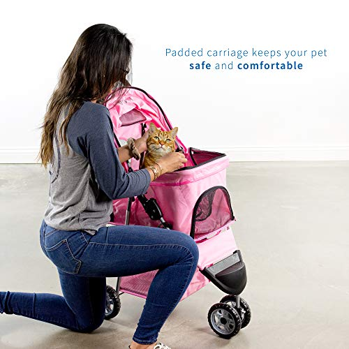 VIVO Pink 3 Wheel Pet Stroller for Cat, Dog and More | Foldable Carrier Strolling Cart (STROLR-V003N)