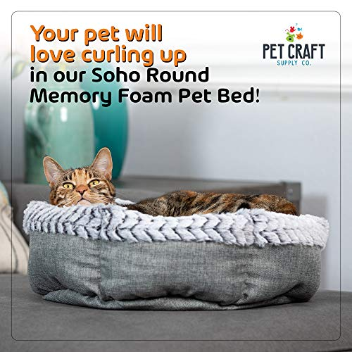 Pet Craft Supply Co. Soho Round Machine Washable Memory Foam Comfortable Ultra Soft All Season Self Warming Cat & Dog Bed