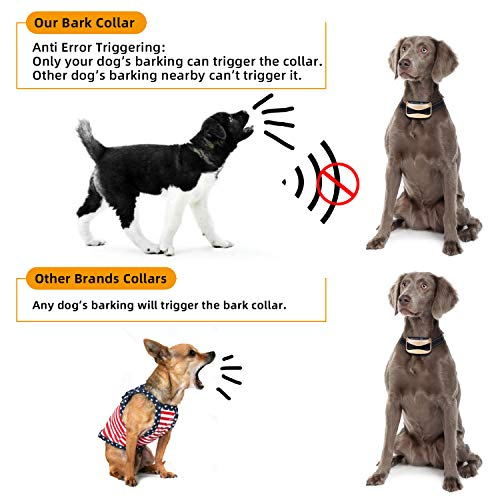 Dog Bark Collar Anti Bark Collar with 7 Sensitivity, USB Rechargeable Waterproof Dog Bark Collar with Vibration and Beep for Small Medium Large Dogs