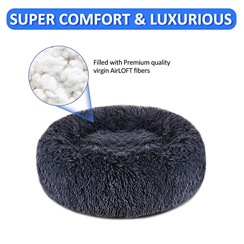 "FOCUSPET Dog Bed Donut, Faux Fur Cuddler Bed Size 30"" for Cats & Dogs Round Ultra Soft Washable Self Warming Pet Cuddler Beds"