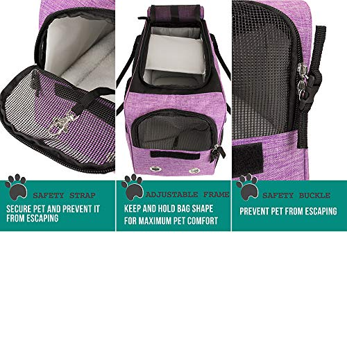 PetAmi Airline Approved Dog Purse Carrier | Soft-Sided Pet Carrier for Small Dog, Cat, Puppy, Kitten | Portable Stylish Pet Travel Handbag | Ventilated Breathable Mesh, Sherpa Bed (Purple)