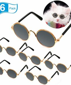 Frienda 6 Pieces Funny Cute Cat Small Dog Sunglasses Classic Retro Circular Metal Prince Sunglasses Eye-wear Protection Photos Props Accessories Cosplay Glasses (Black)