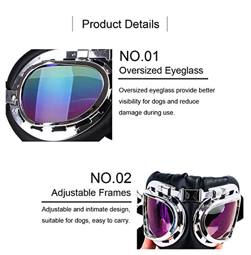 GabeFish Fashion Cool Aviator Polarized Dog Sunglasses Pets Stylish Motorcycle Swimming Goggle