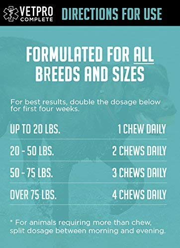VetPro Complete Glucosamine for Dogs Hip & Joint Care – Maximum Strength Soft Chews with Chondroitin, MSM, Turmeric, Vitamin C, Omega 3 – Treats Hip Dysplasia, Arthritis, Pain – 120 Chicken Flavor