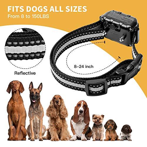 Toozey Bark Collar for Large Medium Small Dog – 2020 Upgraded Q9 Anti-False Dog Bark Collar Rechargeable Waterproof – 3 Modes: Beep/Vibration/No Harm Shock, Gray Strap