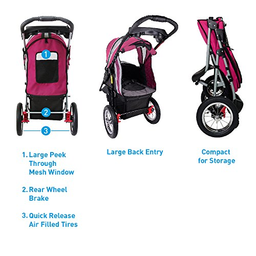 ibiyaya Sturdy Dog Stroller, Cat Stroller for Heavy Everyday Use, Air Filled Tires with Suspensions