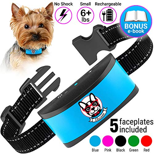 Small Dog Bark Collar Rechargeable – Anti Barking Collar For Small Dogs – Smallest Most Humane Stop Barking Collar – Dog Training No Shock Bark Collar Waterproof – Safe Pet Bark Control Device