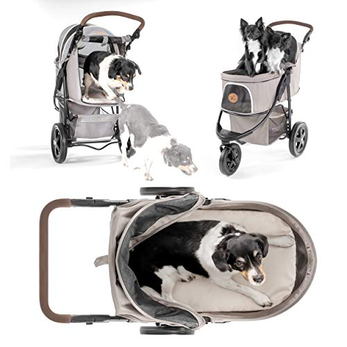 Hauck TOGfit Pet Roadster – Luxury Pet Stroller for Puppy, Senior Dog or Cat | Easy Foldable Three Wheels Travel Pet Jogger max. Loading 70 lb, Mattress Included – Gray