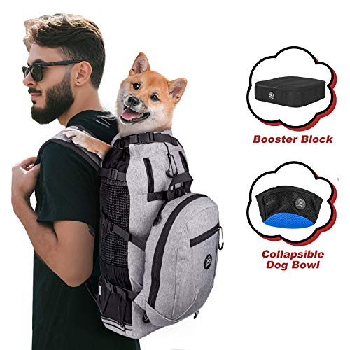 PROPLUMS Dog Carrier Backpack for Small and Medium Dogs Multifunction Pet Sport Sack Air for Walking Hiking and Traveling with Detachable Storage Bag Free Booster Block and Collapsible Dog Bowls (M)