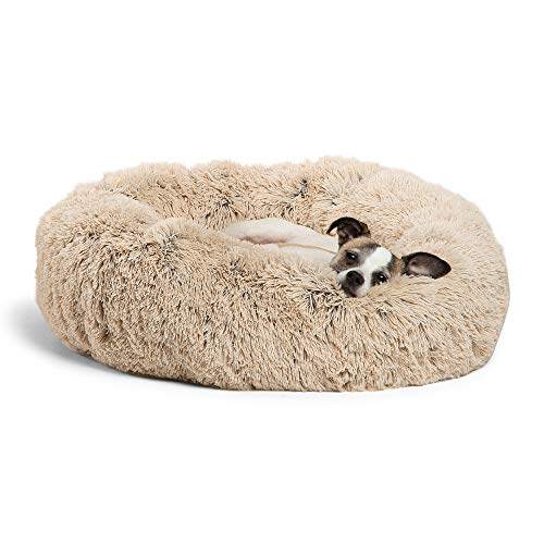 Best Friends by Sheri Calming Shag Vegan Fur Donut Cuddler (23×23 Small – Taupe), Cat and Dog Bed, Self Warming and Cozy for Improved Sleep, Machine Washable for Pets Up to 25 lbs.