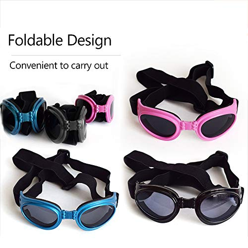 Decdeal Dog Sunglasses Dog Goggles Waterproof Windproof UV Protection Adjustable Eye Wear for Small Dog