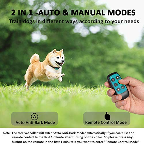 WWVVPET Spray Dog Training Collar,2 Modes Citronella Dog Bark Collar (Not Included Citronella Spray),500 ft Rechargeable No Electric Shock Harmless (Blue (with Remote Control))