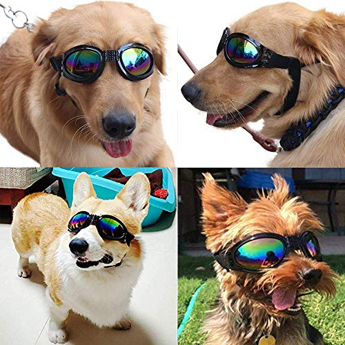 2 Pcs Dog Goggles, Adjustable Strap Dog Goggles Eye wear Protection for Travel Skiing, Black UV Protection Waterproof Sunglasses for Dog (Black, Black)