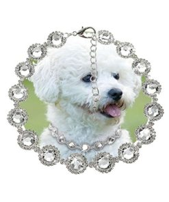Stock Show Pet Cute Rhinestone Collar Necklace Dogs Blingbling Diamond Necklaces Dog Cat Fancy Princess Wedding Style Collar for Small Pets Cats Kitten Puppy, White