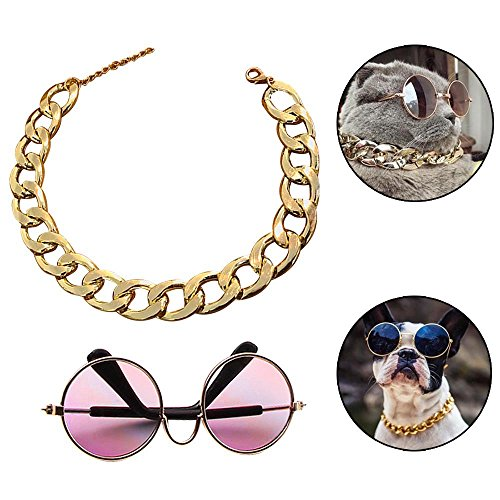"""Coolrunner Funny Pet Sunglasses and Cool Plated Gold Chain Necklace (15"""" x0.39"""") with Adjustable Length for Cats/Small Dogs Fashion Costume-Taking Pictures (8 cm Sunglasses)"""